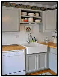 butcher block countertops gray cabinets