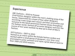 image titled write a resume for a job in the fashion industry step 6 write up a resume