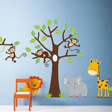 Wall Decals, Monkeys and giraffe , Nursery Kids Wall Decal ...