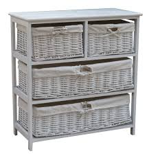 white storage unit wicker: wide wooden storage cabinet with  wicker baskets white