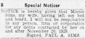 Special Notice regarding Minnie leaving Paul A. Sims. - Newspapers.com