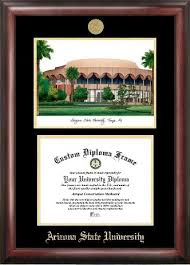 arizona state university products sun devils diploma frames  arizona state university gold embossed frame lithograph and diploma opening