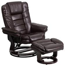 flash furniture contemporary brown leather recliner and ottoman