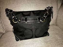 Coach Black Signature Jacquard Carly Hobo Medium Shoulder Bag Purse 10619