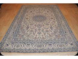 7 x 10 beige background blue handmade persian nain silk wool rug