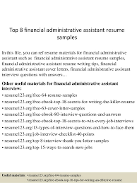 Sample Office Assistant Resume Top 8 Financial Administrative Assistant Resume Samples
