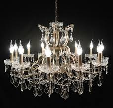 large 12 arm branch antiqued silver shallow french cut glass chandelier