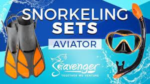Aviator Snorkel Set Black Silicone Orange