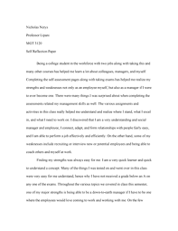 A self reflective essay is a personal opinion piece from the author. Essay Of Self Reflection Paper For A Management Course Studocu