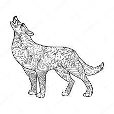 Wolf Coloring Boek Voor Volwassenen Vector Stockvector