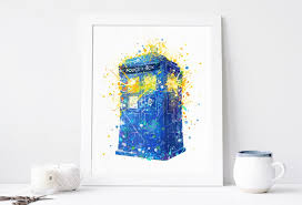 tardis print doctor who poster watercolor printable dr who wall art