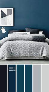 grey and navy blue bedroom