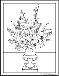 elegant greek bouquet flower vase coloring page