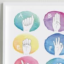 Sign Language Alphabet Poster Watercolors Baby Sign Language Asl Alphabet Chart Classroom Decor Playroom Decor