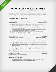 Bookkeeping Resume Example Examples Of Resumes