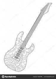 Muziekinstrument Elektrische Gitaar Coloring Boek Vector Voor