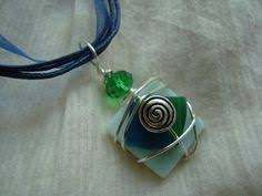 wire wrapped recycled glass pendant. Wire Wrapped Recycled Glass Necklace By UniqueChiqueJewelry, $11.00 Pendant R