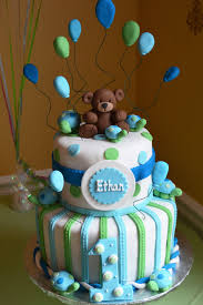 Boy 1st Birthday Cake Blue And Green Bears And Turtles Julie