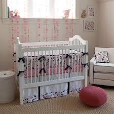 interior pink and gray crib bedding