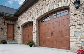 steel garage door with a wood finish