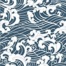 Japanese Wave Pattern New Pattern Seamless Ocean Waves Hand Drawn Japan Style On A Blue