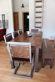 handcrafted black walnut table and chairs industrial modern design