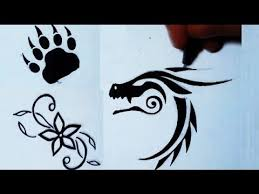 Small Picture Drawing 3 Simple Tattoos Flower Bear Paw Dragon YouTube