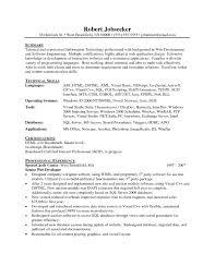 ... Senior Net Developer Resume Sample New Sql Resumes ...