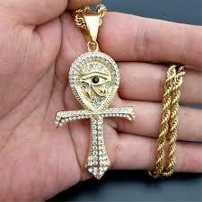 <b>Egyptian Ankh Cross Pendant</b> Necklace For Women/Men Gold ...