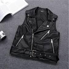 4xl plus size female motorcycle waistcoat black leather vest women sleeveless biker jacket with belt