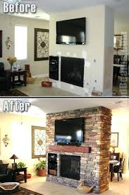 fake mantel fireplace before and after a mantel and a stone style veneer give this room