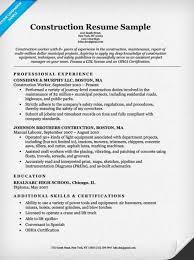 Construction Labor Resume Samp Marvelous Construction Worker Resume