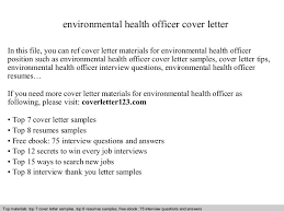 Environmental Officer Sample Resume Magnificent Environmental Health Officer Cover Letter