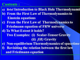 a brief introduction to black hole thermodynamics b from the first law of thermodynamics