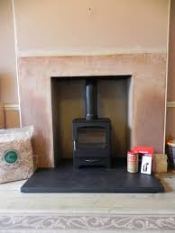 wood burning stove fireplace recess and hearth