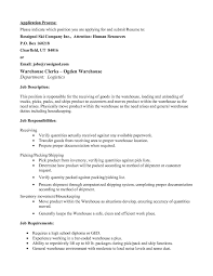 Cover Letter In Resume General Warehouse Worker Cover Letter chiropractor receptionist 81