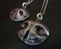 dog nose necklace personalized fine silver pendant for a medium sized dog with sterli