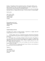 write a letter of complaint environment complaint letter templates  letter of complaint garbage
