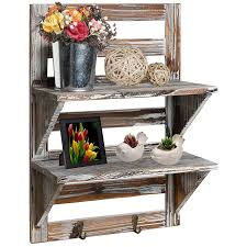 wall storage shelf with hooks. Amazoncom MyGift Rustic Wood Wall Mounted Organizer Shelves  Hooks Storage Rack Brown Home Kitchen Throughout Shelf With