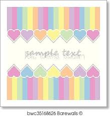 baby postcard art print of baby postcard background with two lines of hearts and