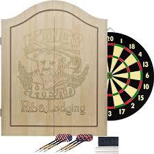 Dart Board Cabinet With Chalkboard Amazoncom Kings Head Light Wood Dartboard Cabinet Set Dart