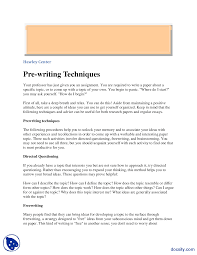 Prewriting Techniques Word Order Technical Writing Handout Docsity