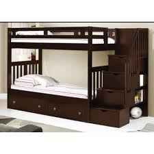 twin bunk beds. Contemporary Beds Donco Kids Twin Over Mission Tall Storage Stairway Bunk Bed In  Cappuccino  Hugo  For Beds