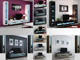 Living Room Tv Set High Gloss Living Room Set With Led Lights Tv Stand Wall Mounted