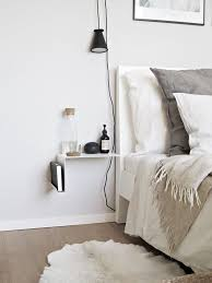 interesting side table and lighting for small space bedrooms minimal light fixture pendant light shelf bedside lighting ideas