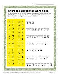 Activities Word Cherokee Language Word Code Activity Native Americans