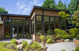 House With Black Trim Dark Brown Window Trim And Brick Cladding Landscape Design
