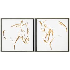 Ballard Designs Horse Art Uttermost Set Of 2 Golden Horses Framed Art Framed Art