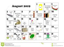 August Calandar August 2019 Quirky Holidays And Unusual Events Stock
