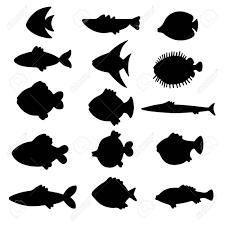 ベクトル シルエット魚セット